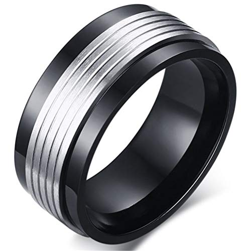 XBYBEI Mens 9mm Schwarz Edelstahl Silber Drehbare Metall Wedding Band Vintage Fashion Art personifizierte Ring Comfort Fit