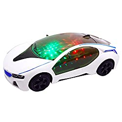 describe: Flashing lights & engine sounds with music Spinning wheels with flashing lights Lots of 3D L.E.D lights Full bump & go action! Sound effects include realistic engine start up & music sounds awesome. The Item is Magnificent, it l...