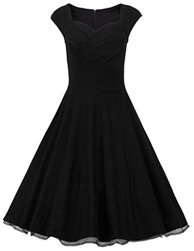 Eudolah Damen Elegant Tanzen 50er Party Kleid Cocktailkleid Rockabilly Audrey Hepburn Polka Dots Schwarz