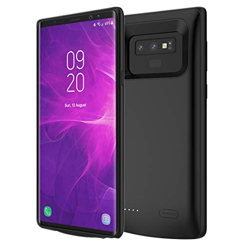 Samsung Galaxy Note 9 Battery Case, 5000mAh Rechargeable External Backup Charger Pack Slim Extended Portable Power Bank Extra Shockproof Protective Cover Shell Black Black Extended Battery Support