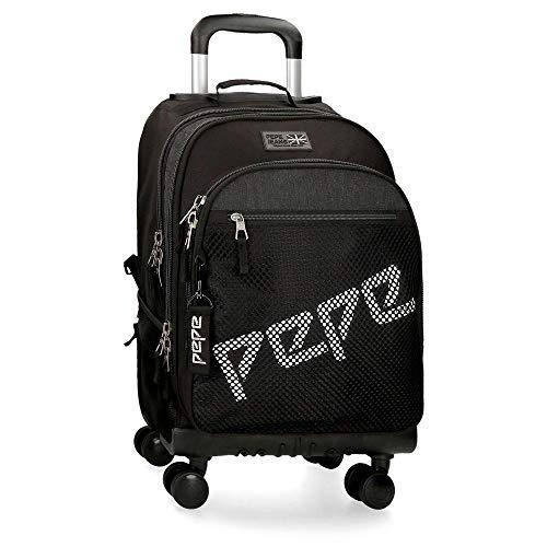 Mochila con ruedas Pepe Jeans Ren 4R, 44 cm, Negro