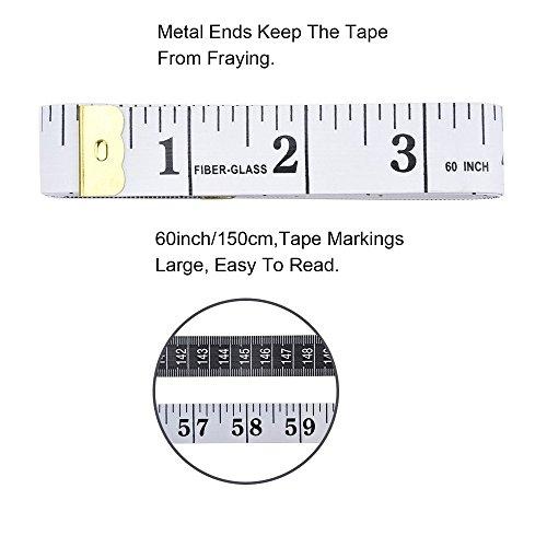 Medida de cinta suave de Golvery para coser Medida de cuerpo de tela de sastre, Regla de vinilo artesanal, 60 pulg. 150 cm, 2 piezas de conjunto, Blanco