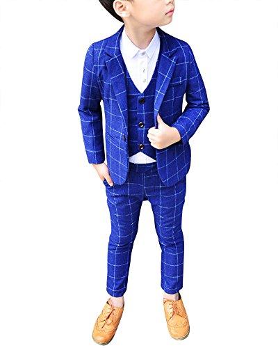 DianShao Bambini Bambino Elegante 3 Pezzi Abito Griglia Set Completo Blazer + Pantaloni + Gilet Blu 120