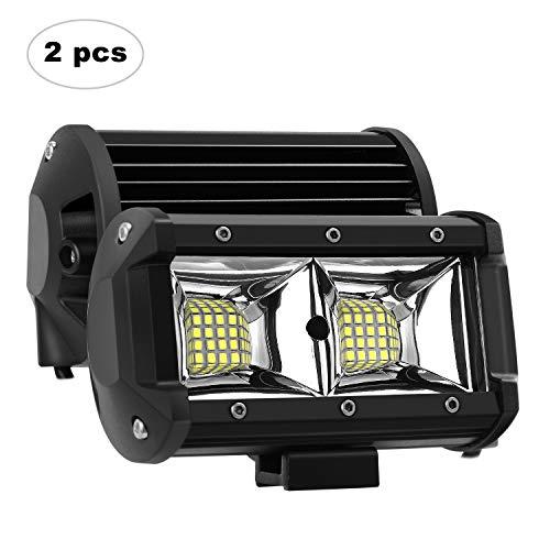 AAIWA Faro Luce LED, Flood Light 5' 96W 2pcs, Fari Luci di Lavoro Impermeabili IP68 e Potenti,Faretti Barra LED Fuoristrada, Fendinebbia per Auto, Truck,4x4