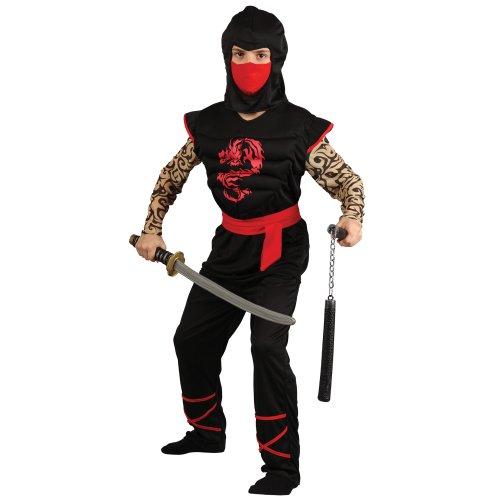 Imagen de wicked  disfraz de guerrero ninja para niño, pechera con músculos, talla m, 122 134 cm