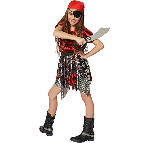 Piraten Junge Verwegene Kostüm - dressforfun 900355 - Mädchenkostüm kleine Seeräuberin, längsgestreiftes Oberteil und dreilagiger Rock, inkl. rotem Kopftuch (140 | Nr. 301755)