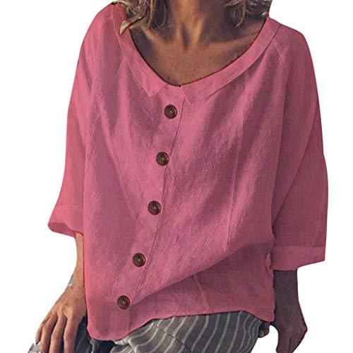 Racerback Gerippte Tank-top (iYmitz 3/4-Arm Damen Streetwear Einfarbig Rundausschnitt Leinen Frauen Freizeit Bluse Sommer Freizeithemd(Z1-Rosa,EU-42/CN-XL))