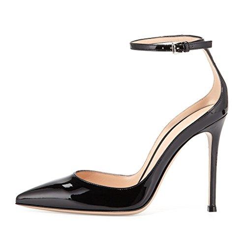 EDEFS - Escarpins Femme - Brillant Coupé Chaussure - Cheville Boucle - Talon Aiguille - Bout pointu fermé Black