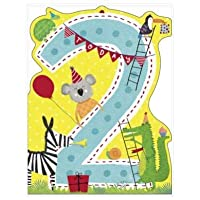 Watermark Boys Age 2 Birthday Card - 2 Today Jungle Animals - Blue Flitter Finish (Ukg-734836)