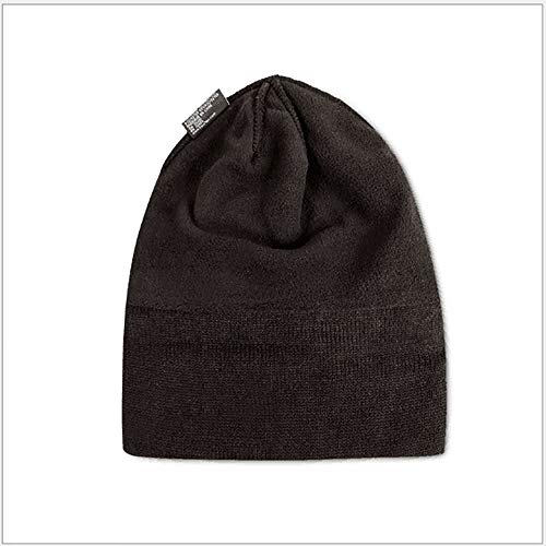 qianqian QIAN Simple Solid Color Knitted Hat Plus Velvet Thicken Windproof Wool Cap Keep Warm Big Head Circumference Men Winter Hat