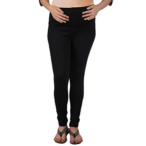 MomToBe Women's Lycra Maternity Leggings, Black