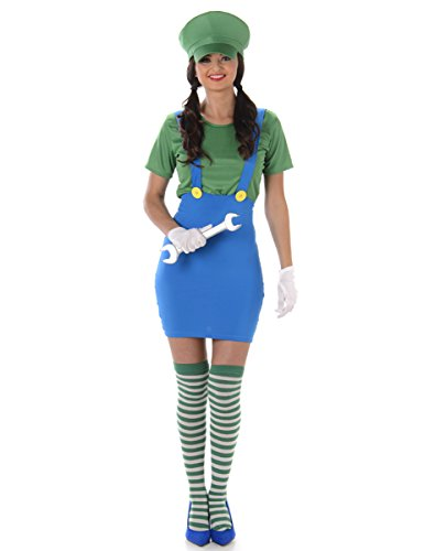 Green Plumber Ladies Fancy Dress Super Mario Luigi Video Game Womens 80s Costume
