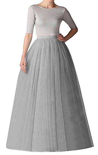 Izanoy Damen 5 Layer Tutu Prinzessin Petticoat Rock Elastic Bund Ballettrock Unterrock Pettiskirt Grau 2