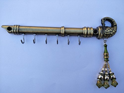 PRAMUKH STORE Lord Krishna's Flute Peacock with Decorative Latakan Key Holder Brass...