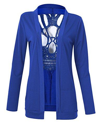 YesFashion Femme Veste en jersey Top ouvert manches longues guipure à squelette tête de mort sexy haut pour femme Bleu