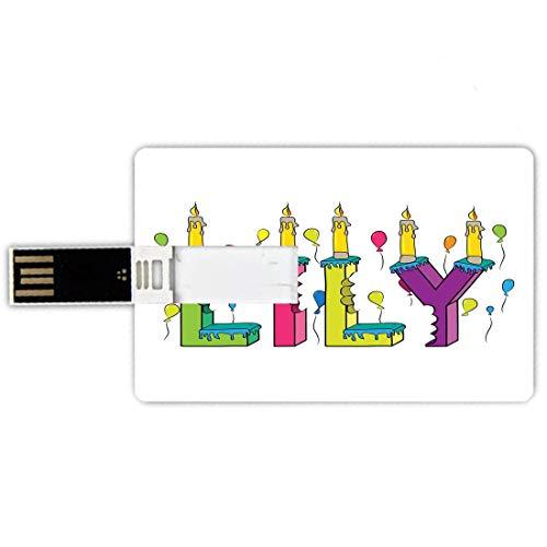 8gb chiavette usb a forma di carta di credito giglio memory card stile carta di credito disegnata a mano merry arrangement of letters compleanno a tema nome femminile con palloncini,multicolor, penna