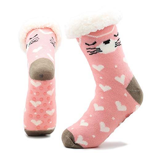 Fluffy Slipper Socks Damen Mädchen Premium Soft Home Socken Größe 4 5 6 7 8 - Neuheit Sheep Dog Cat Fluffy und Pelz Slipper Socke (Rosa Katze)