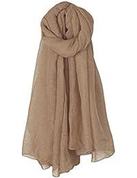 CADANIA Longue écharpe Wrap Vintage Coton Lin Grand Châle Hijab Élégant  Couleur Unie Femmes ... 64d88e93a36