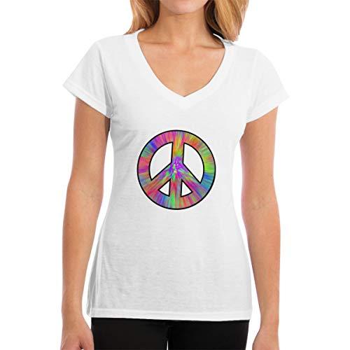CAStore Frauen V-Ausschnitt T-Shirts Women's Custom Tie Dye Peace Sign V Neck Short Sleeve T Shirts T Shirt Tee -