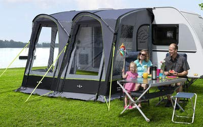 Preisvergleich Produktbild Berger Reisevorzelt Molina-L Deluxe grau schwarz 3000mm Wassersäule aufblasbares Gestänge Teilvorzelt für Wohnwagen Caravan Anbauhöhe 240-255 cm