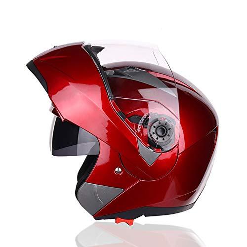 AmzGxp ABS Doppellinse Motorrad Full Cover Helm Männer Und Frauen Outdoor-Sportarten Reiten Querland Jethelm Farbe Lokomotive Voller Gesicht Helm Gemütlich (Farbe : Red, Size : XXL)