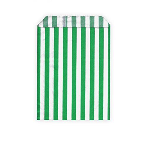 erbeutel / Partytüten / Candy Bags - für Geschenke, Karten - verschiedene Größen und Muster (13 x 18 cm, grün / weiß (gestreift)) ()