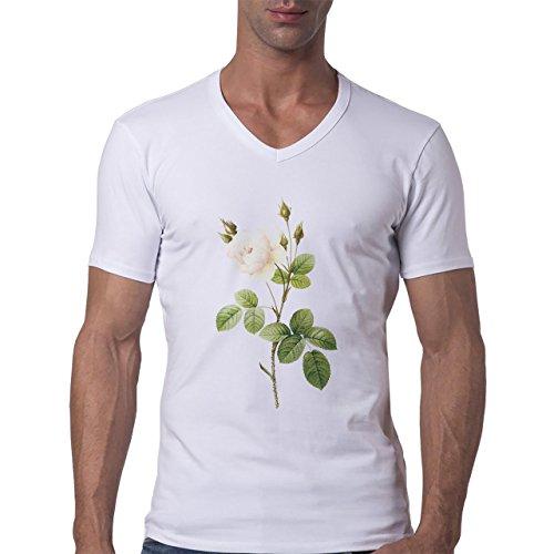 Flowers Nature Blossom Plant Cut Rose Herren V-Neck T-Shirt Weiß