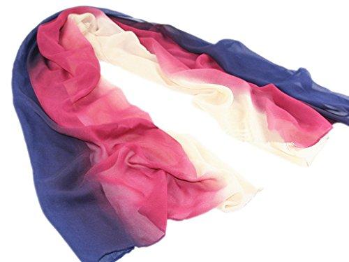 Smile YKK Foulard Femme Mousseline de Soie Echarpe Longue Casual Soirée Rose Rouge