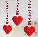 bb10 Schmuck Herzgirlande Hängegirlande mit Herz Rotorspiralen mit einem Herzanhänger für die Dekoration zur Hochzeit Valentinstag Geburtstag Jubiläum Party oder andere Anlässe