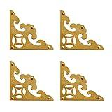 Tiazza 4 pezzi vintage ottone antico decorativo box angolo triangolo con viti, scatola regalo in legno portagioielli cassa accessori guardia bordo piatto angolo bretelle