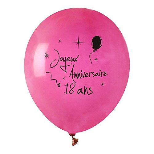 Chal - Ballon Joyeux Anniversaire Fuschia 18 Ans x 8