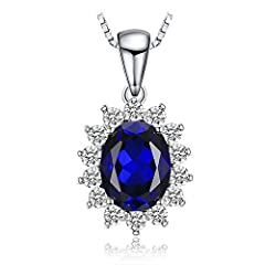 Idea Regalo - JewelryPalace Ovale 3.2ct Principessa Diana William Kate Middleton's Sintetico Blu Zaffiro Pendente 925 Sterling Argento Pendente Collana 45cm