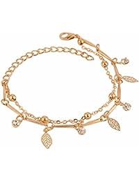 Efulgenz Gold Tone Stylish Handmade Chain Charm Bracelet for Women with an Extender