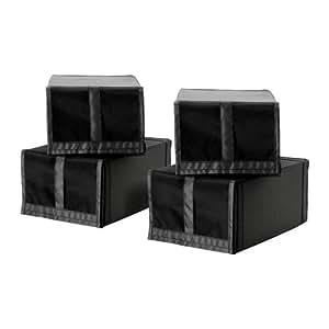 ikea skubb schuhkastenschwarz 4 st ck 22x34x16 cm baby. Black Bedroom Furniture Sets. Home Design Ideas