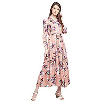PANIT Women's Orange Viscose Floral Print Maxi Dress (Size-Medium)