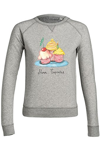 ul26 Sweat pour femmes Trips Mmm Cupcakes Heather Grey