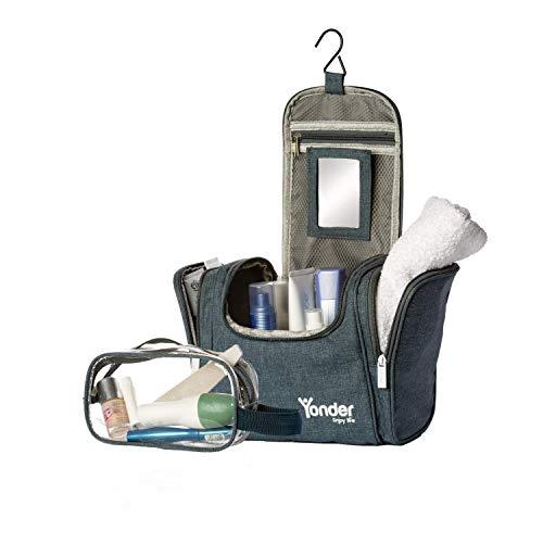 Yonder® Premium XXL Kulturtasche | Kosmetiktasche mit 8,5L Stauraum | Groß + gratis Waschtasche | Kulturbeutel für Damen & Herren zum Aufhängen - Zip-n-griff