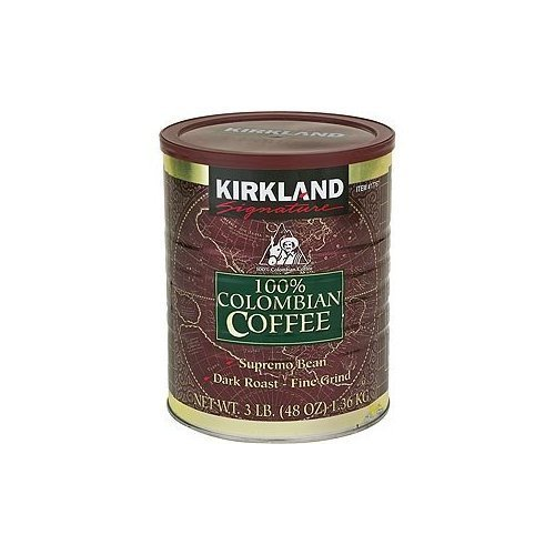 2 X Kirkland Signature 100% Colombian Filter Coffee Supremo Bean Dark Roast Fine Grind 1.36kg 417w 2BFqM37L
