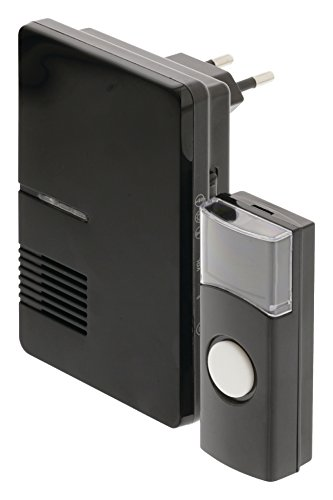 Eurosell - Funk Klingel - Türklingel mit Namensschild Klingelplatte + Empfänger wireless kabellos (1. Modell - Mini Funk Klingel)