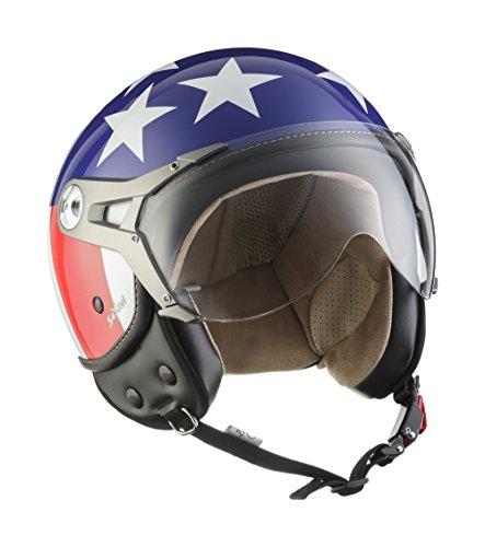 SOXON SP-325 Usa · Bobber Helmet Chopper Retro Biker Jet-Helm Roller-Helm Mofa Motorrad-Helm Scooter-Helm Pilot Cruiser Vespa-Helm Vintage · ECE zertifiziert · mit Visier · inkl. Stofftragetasche · Blau · XS (53-54cm)