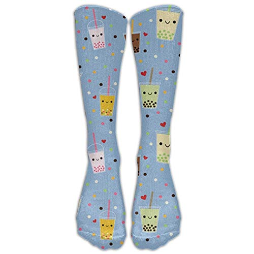 Happy Boba Bubble Tea Outh Girl&Womens Funny Color Hip Hop Crazy Pattern Light Thin Middle Tube Crew Socks