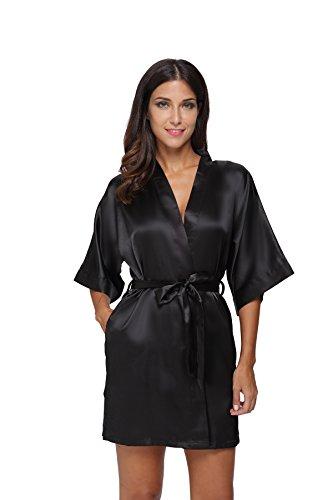 The Bund Damen pure color short satin kimono roben mit oblique v-ausschnitt Schwarz XXX-Large Kimono-shorts