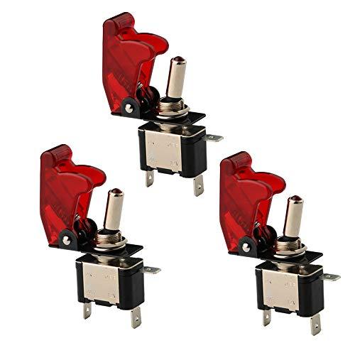 CESFONJER 3 x 12V 20A LED Rouge Interrupteurs Bascule, Levier On/Off LED ON-OFF SPST +COUVERTURE Auto Voiture-ROUGE