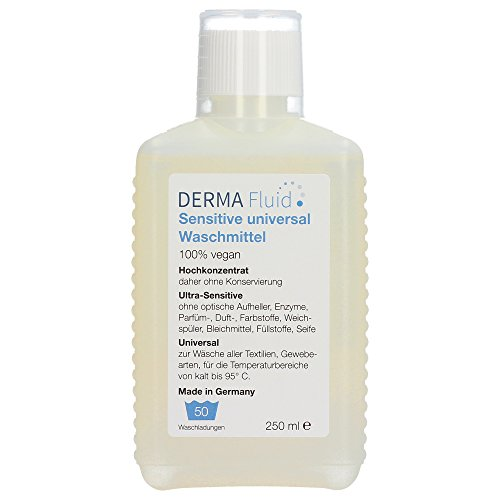 Sensitive Waschmittel (50 WL) ohne Duftstoffe, Parfüm, Enzyme, Zusatzstoffe, Weichspüler - ideal für Baby\'s, Allergiker, Neurodermitis, empfindliche & allergische Haut/Allergie (250 ml)