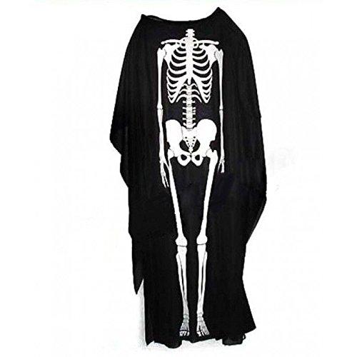 Erwachsene Scary Skeleton Black Robe Scream Halloween verkleiden ()