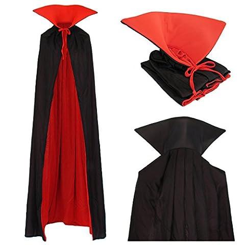 Dracula Costume - Vampire cape cape réversible avec col haut