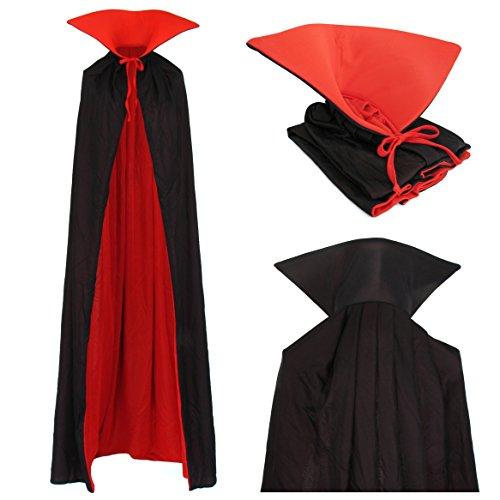 Vampir Wendeumhang Umhang mit Stehkragen schwarz rot Vampire 170cm lang Cape Mantel für Erwachsene Kostüm Dracula Familien Kostüm (Lange Rote Umhang Kostüm)