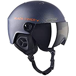Black Crevice Unisexe - Adulte Casque de Ski Gstaad avec Visière Carbon Navy/Orange S/M (54-57) (54-57 cm)