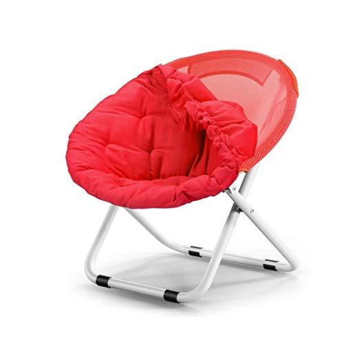 TINGTING-Klappbarer Hocker Sofa Stuhl Klappstuhl Moon Chair Sonnenliege Metall Stahl Canvas Stuhl Chaise Longue Starke Rutschfeste Jacke (Color : Red, Size : 80 * 51 * 76cm) -