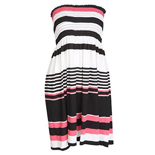 Damen Kleid Bedruckt Bandeau-Top Kleid Größe EU 36-46 - M/L (EU 40/42), Farbige Streifenmuster